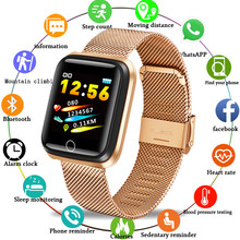 Ini Stainless Steel Tali Sport Smart Gelang IP67 Tahan Air Pedometer Heart Rate Monitor LED Warna Layar Android IOS(China)