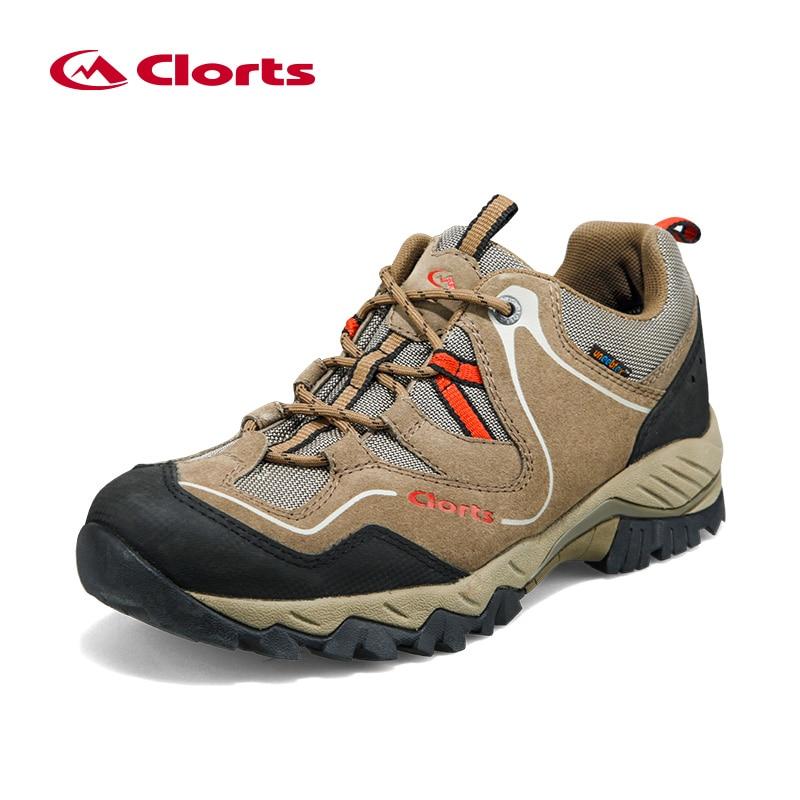 Clorts Waterproof Hiking Boots Outdoor Men Genuine Leather Sports Sneakers Breathable Waterproof Trekking Shoes Walking Sneakers цены онлайн