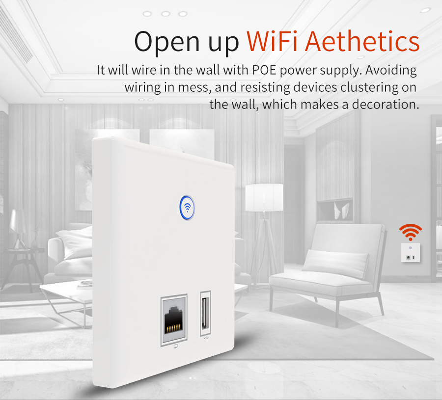 10 sztuk Comfast Ściany AP router bezprzewodowy 2.4G wireless WIFI 1 USB 1 RJ45 LAN ap ściany panelu gniazdo ładowania dla telefonu komórkowego dla hotelu