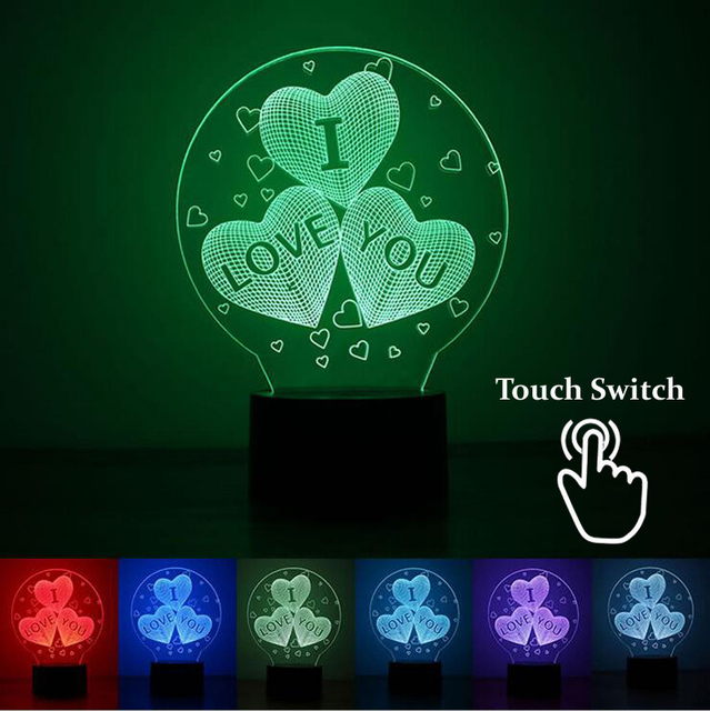 3D Illusion Lamp I LOVE YOU 7 Colors Changing LED Bulbing Light Desk Table Romantic
