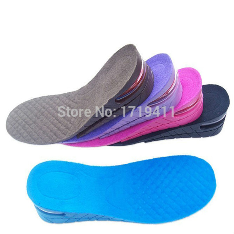 New 2-Layer Air Bubble Cushion Shoe Lift Height Increase Orthopedic Shoes InsolesTaller For Men and Women Palmilha 5 cm high quality new 3 layer 7cm air bubble cushion shoe lift height increase heel insoles pair taller for men and women