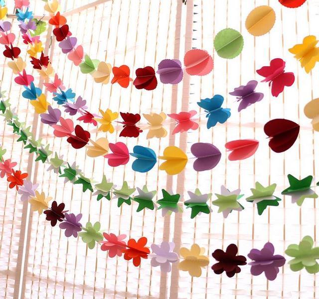 Colgantes de flores de papel Navidad flores artificiales Garland ...