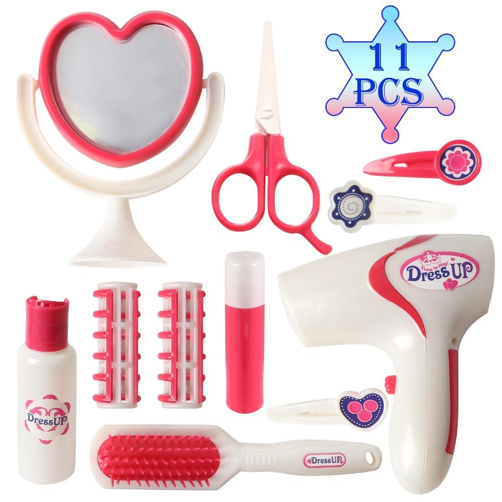 Vervoering 11 Pcs Meisjes Schoonheid Kapper Speelgoed Voor Kids Make Up Kit Met Werken Föhn Accessoires Pretend Play Kinderspeelgoed