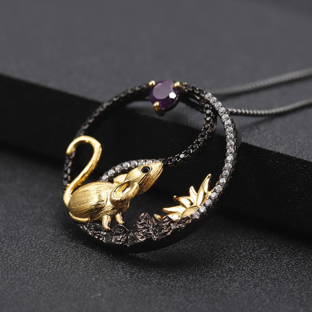 Image 3 - GEMS BALLET, серебро 925 пробы, кулон ручной работы крыса,  ожерелье, натуральный аметистовый драгоченный камень, китайский зодиак,  ювелирные изделия для женщинПодвески