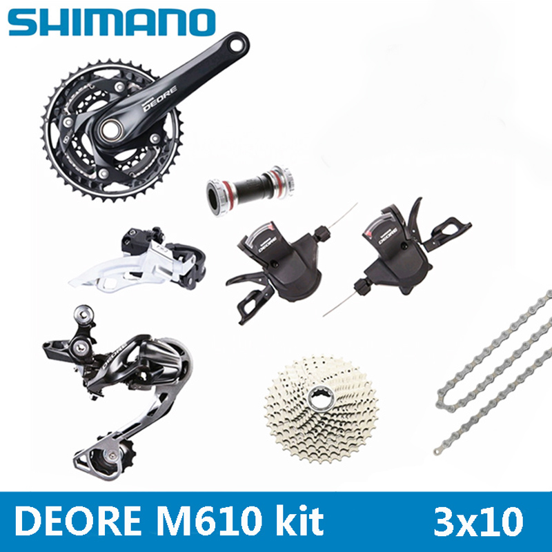 SHIMANO DEORE M610 mountain bike shift kit Crank Sprockets 3X10 30 Speed Bicycle Parts The derailleur kit is free shipping  shimano acera mountain bike st ef65 shift brake lever 3 8 speed 24s mtb bicycle bike conjoined dip bicycle derailleur