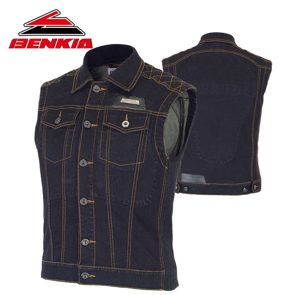 BENKIA Motorcycle Jacket Riding Denim Jacket Vest Jean Motocross Moto Protection Biker Jacket Protector Sleeveless Jaqueta JC40  benkia motorcycle rain jacket moto riding two piece raincoat suit motorcycle raincoat rain pants suit riding pantalon moto