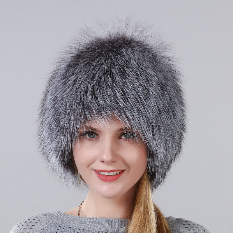 Hot Sale Winter Hat 100% Real Natural Silver Fox Fur Women's Knitted Fur Cap Women Hat Fox Fur Hat Female Ear Warm Winter Must