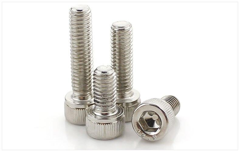 DIN912 12.9 grade bolts high strength Carbon steel hex socket screws M2 M2.5 M3 M4 screws Nickel twill cylindrical head bolts