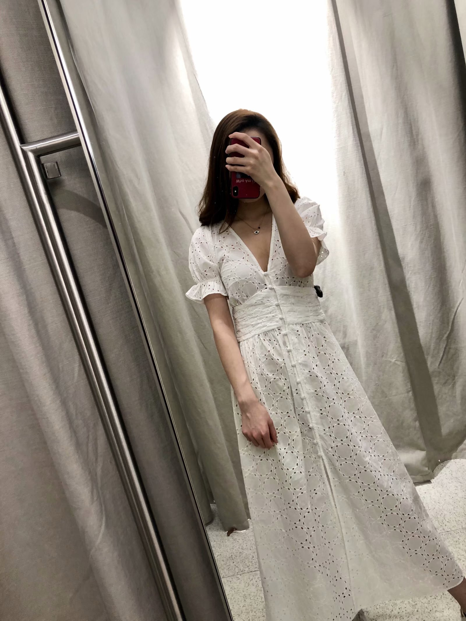 2019 Women s New White Openwork Embroidered Long Dress