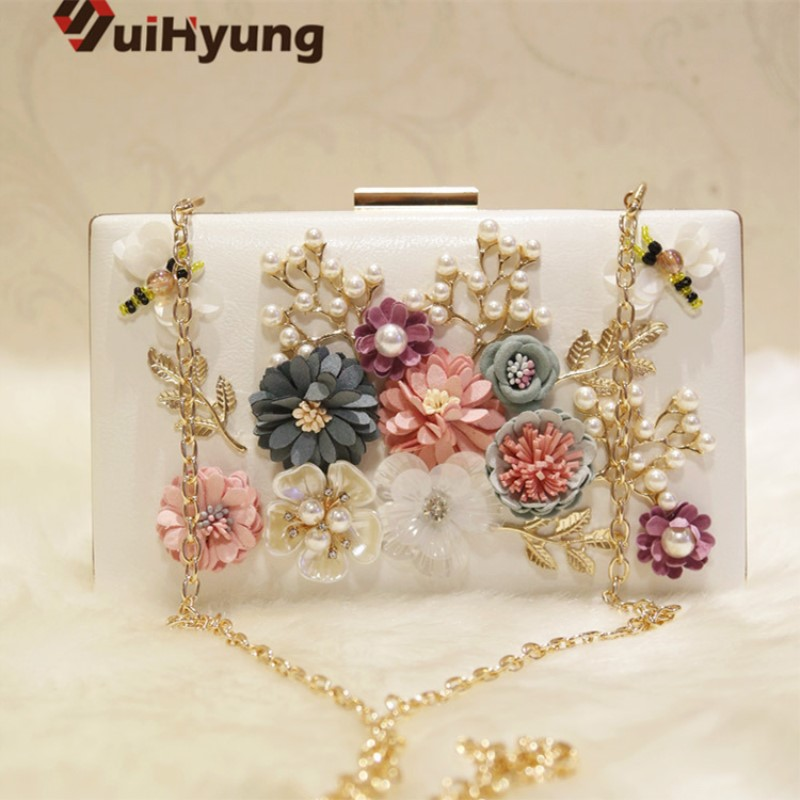 Suihyung Women Handbags Clutch Bags Fashion Beaded Party Evening Bags Ladies Wedding Pearl Flowers Day Clutch Small Purse Wallet