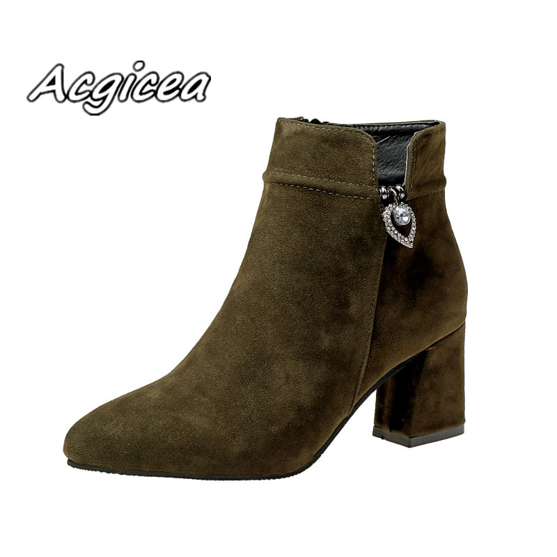 winter boots 2019 new fashion thick with high-heeled Martin boots women s  simple and comfortable 15ef84332ec7