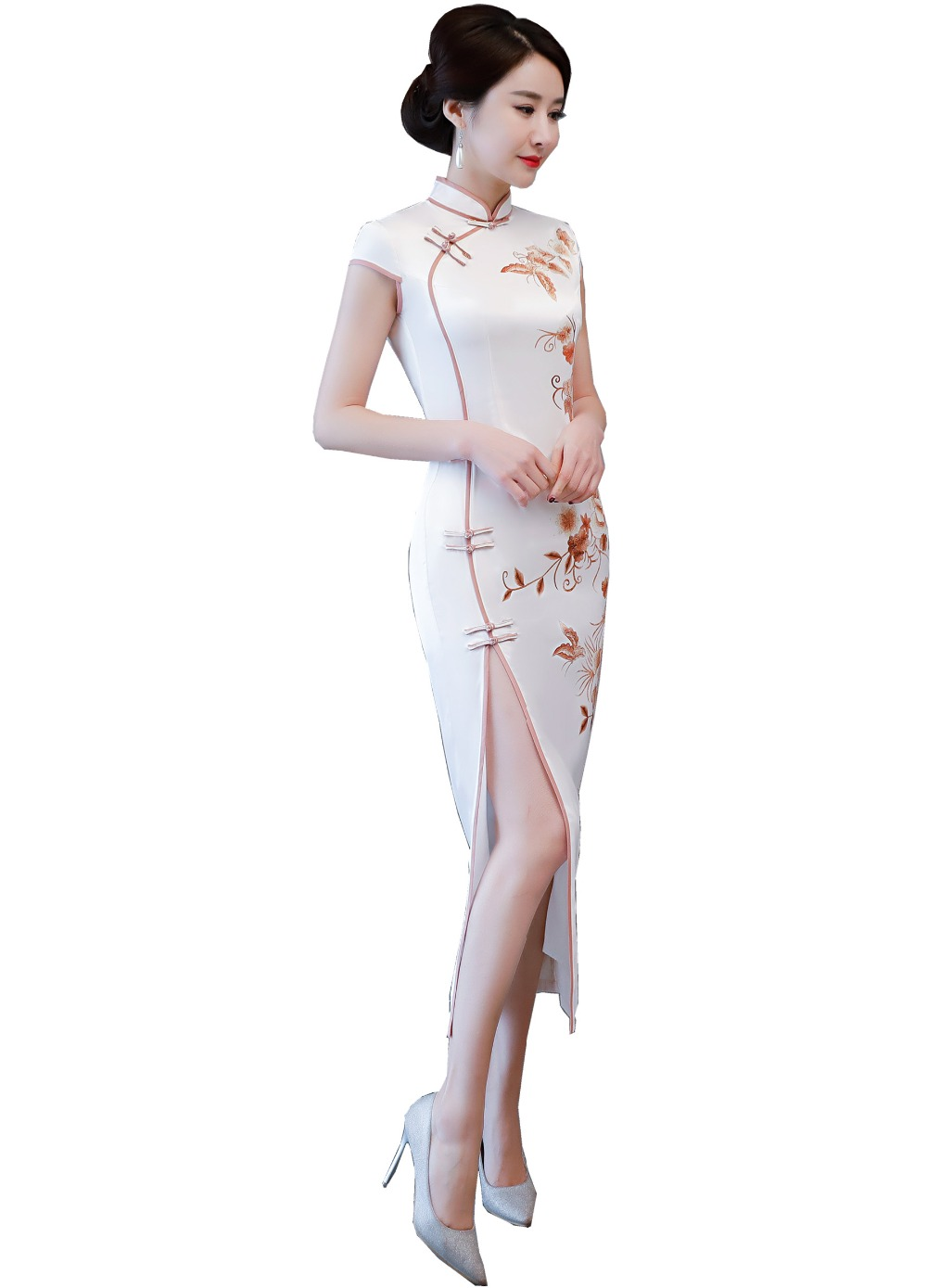 Shanghai Story Long Qipao Dress Faux Silk chinese style long cheongsam dress Chinese Oriental dress for