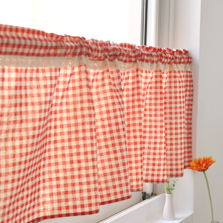 American Country Lace Curtains Half Curtain Bathroom Curtain Short Coffee  Kitchen Curtain(China (Mainland