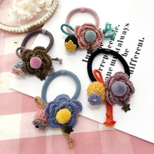 Korea Hair Accessories Woolen Flowers Pearl Butterfly Ties Headband For Women  Gum for Bows Scrunchy Fascinator 4