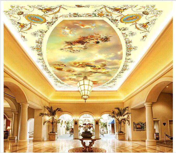 Aangepaste 3d foto behang 3d plafond behang muurschilderingen angel dimensionale schilderij plafondschilderingen 3d kamer behang