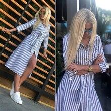 цена на Women Vintage Sashes Blue Striped A-line Dress Three Quarter Sleeve Turn Down Collar Casual Dress