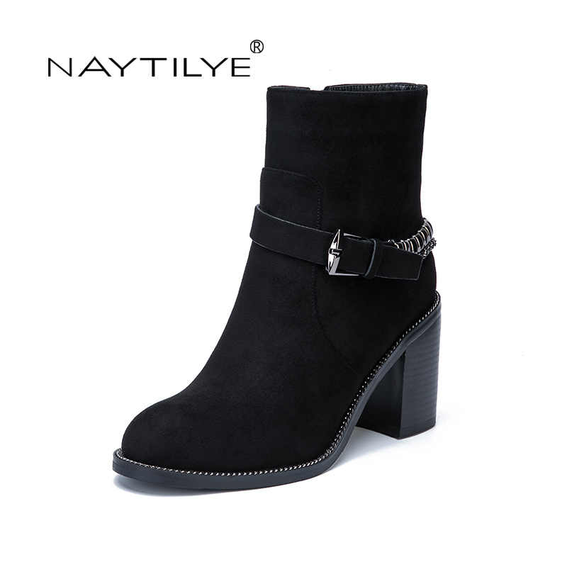 NAYTILYE New 2017 eco leather PU round toe winter ankle boots shoes woman high heels zip wool with chain black blue 36-40 size