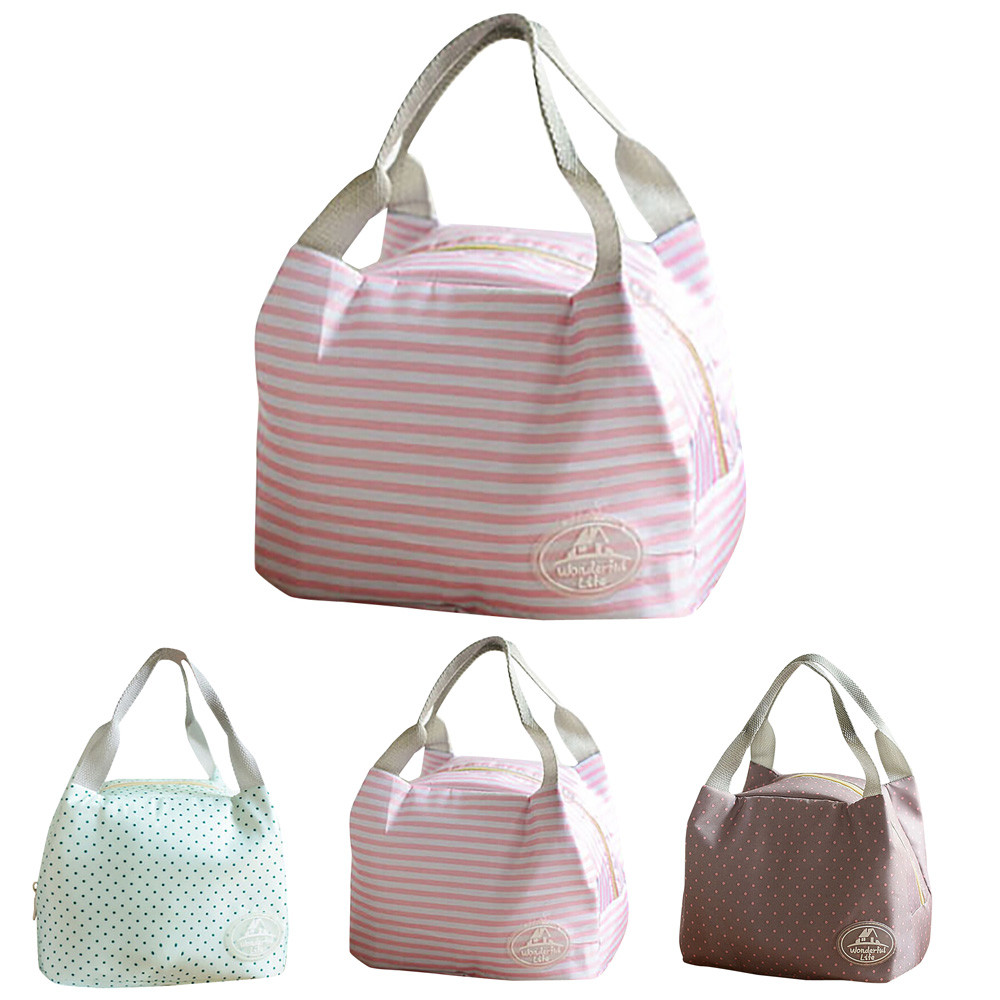 Cute Insulated Canvas Stripe Picnic Carry Thermal Portable Tote Lunch Bag Case