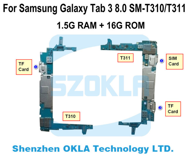 1 шт использовано оригинальное для Samsung Galaxy Tab 3 8,0 T310 T311 T315 1,5G Оперативная память 16G Встроенная память плата Материнская плата логики Замена платы