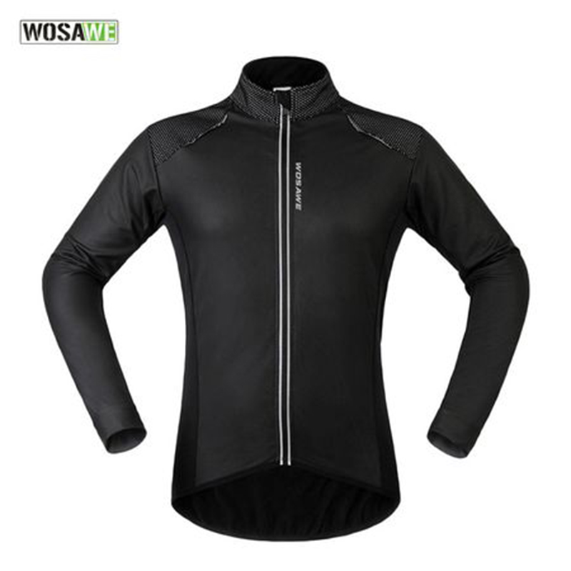 WOSAWE Waterproof Bicycle Jackets Autumn Winter Thermal Fleece Cycling Outerwear Windproof Running Hiking GYM Sportswear Coat