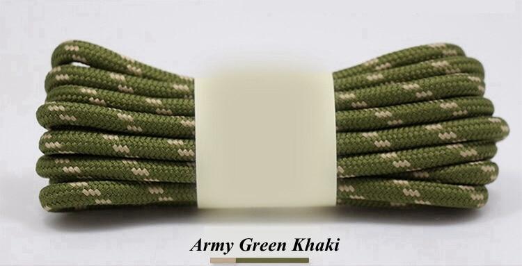 1 пара Спорт на открытом воздухе круглые шнурки для ботинок Пеший Туризм скользящая веревка обуви теннисные туфли с кружевами шнурки strings100/120/140/160 см 19 Цвета - Цвет: Army green khaki