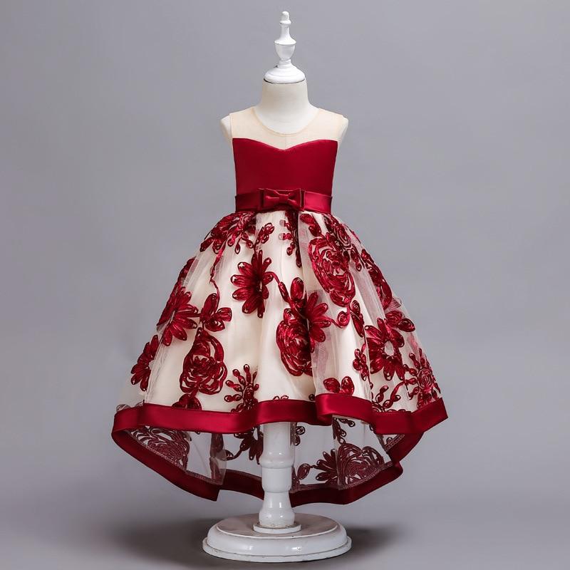 Vestidos de niña de las flores de chifón rojo largo desfile de niñas verano niños 2-10yrs vestido de tutú de cumpleaños de fiesta de boda con lazo grande