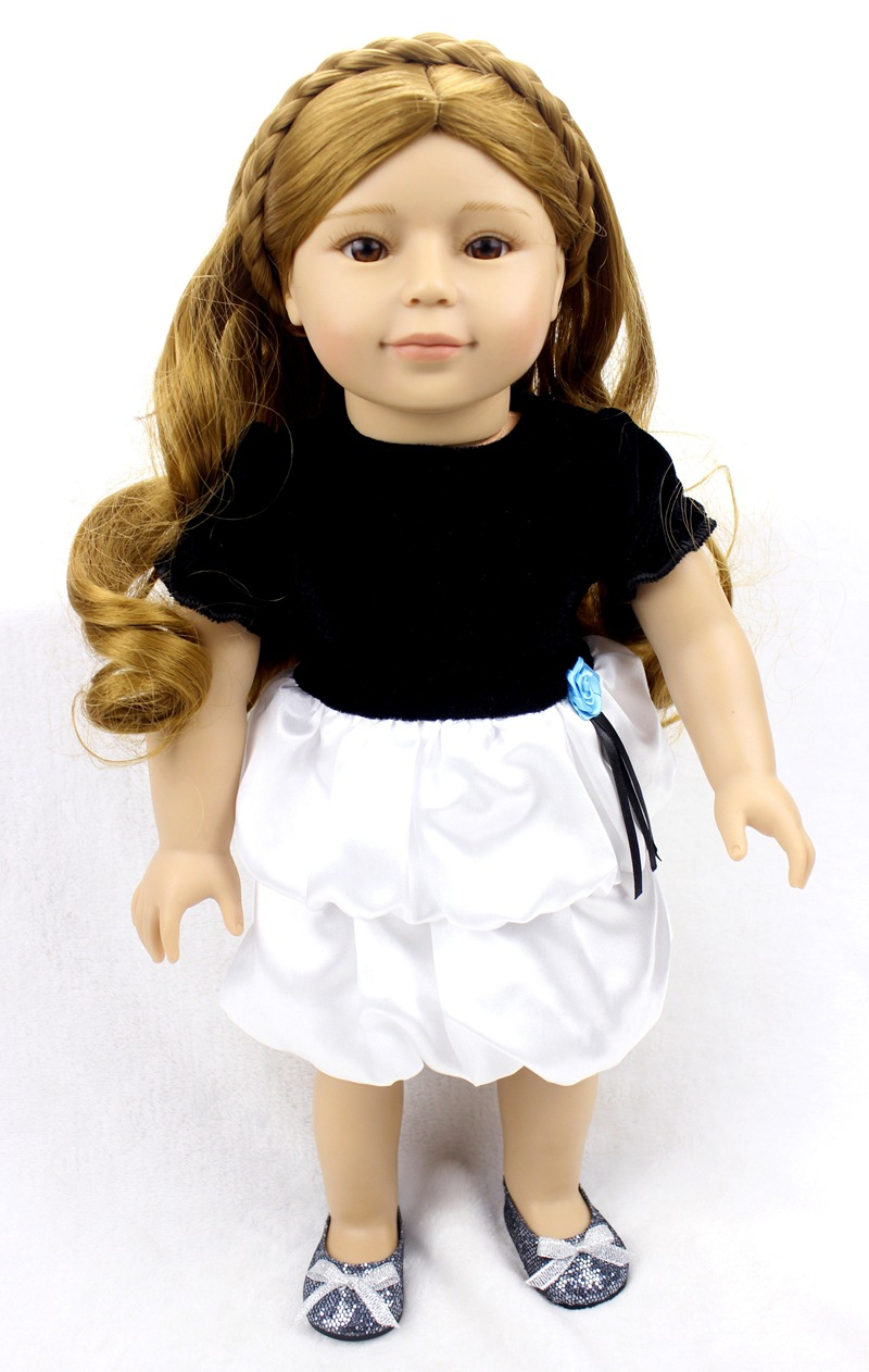 18inch 45cm silicone reborn baby dolls Toys for girls children in summer white and black dress
