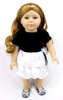 18inch 45cm silicone reborn baby dolls Toys for girls children in summer white and black dress / standing doll cute