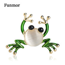 ФОТО funmor kawaii enamel opal frog brooches hijab pins gold color cartoon women men clothes corsage accessories turtle animal brooch