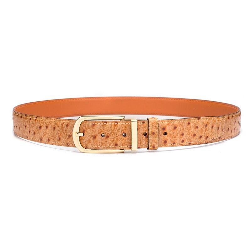 Cinturón de cuero genuino hombres patrón de avestruz piel de vaca cinturones masculinos para hombres cinturón dorado diseñador de alta calidad marca de lujo - 5