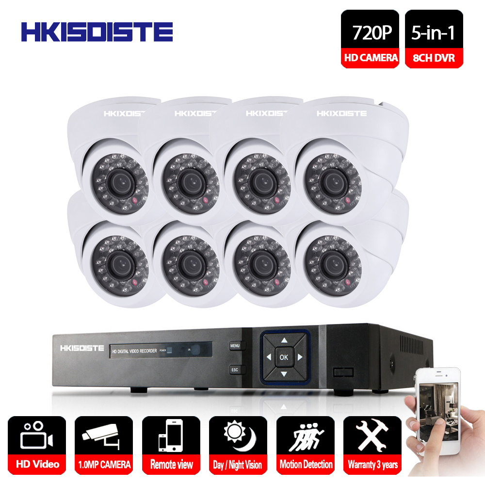 8CH CCTV Security System HD 1080N AHD DVR 8PCS 720P IR indoor CCTV Camera System 8 Channel Video Surveillance Kit dome camera цена