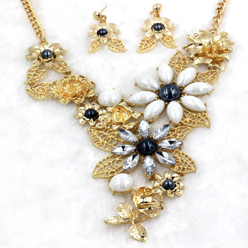 Jewelry-Sets Earrings Bisuteria Ceramic The And Flower Big of Electricity Exaggerated