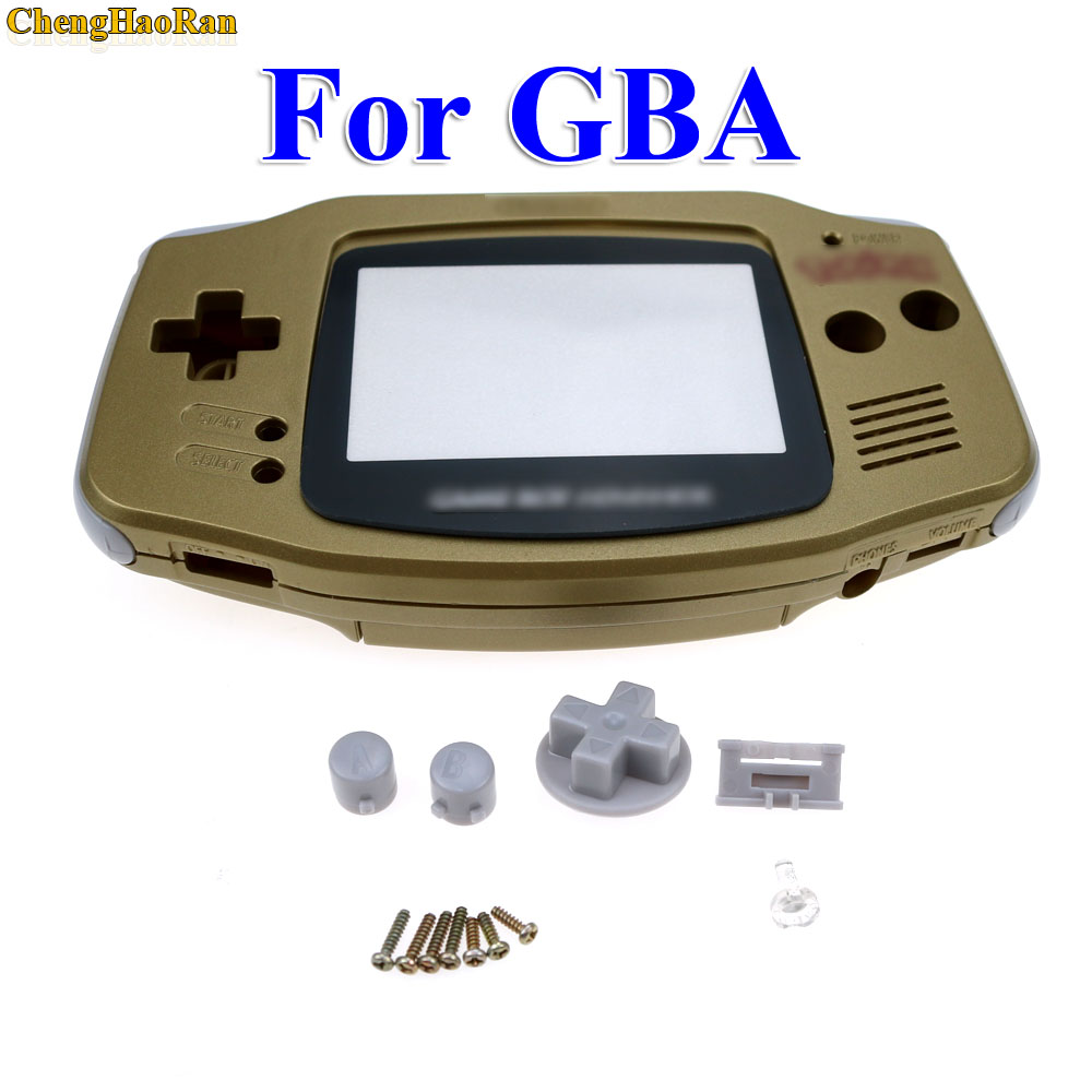 ChengHaoRan 1set Gold Golden shell case housing for gameboy advance GBA with pika chu poke mon protector screen lens in Cases from Consumer Electronics