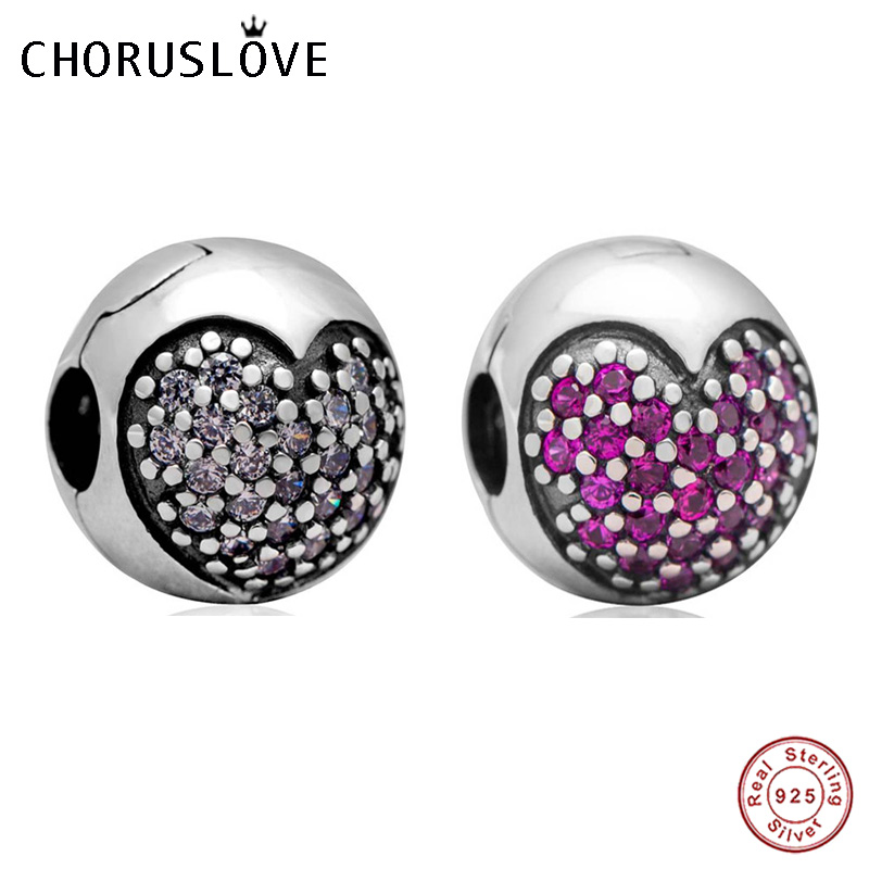 Choruslove Love Of My Life Clip Charm with CZ 925 Sterling Silver Bead Fits Pandora Charms DIY Valentine's Day Series Bracelet image