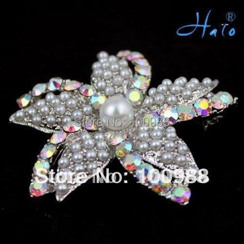 Free Shipping 6pcs/lot P168-423 fancy women accessories fashion pearl starfish brooch pin