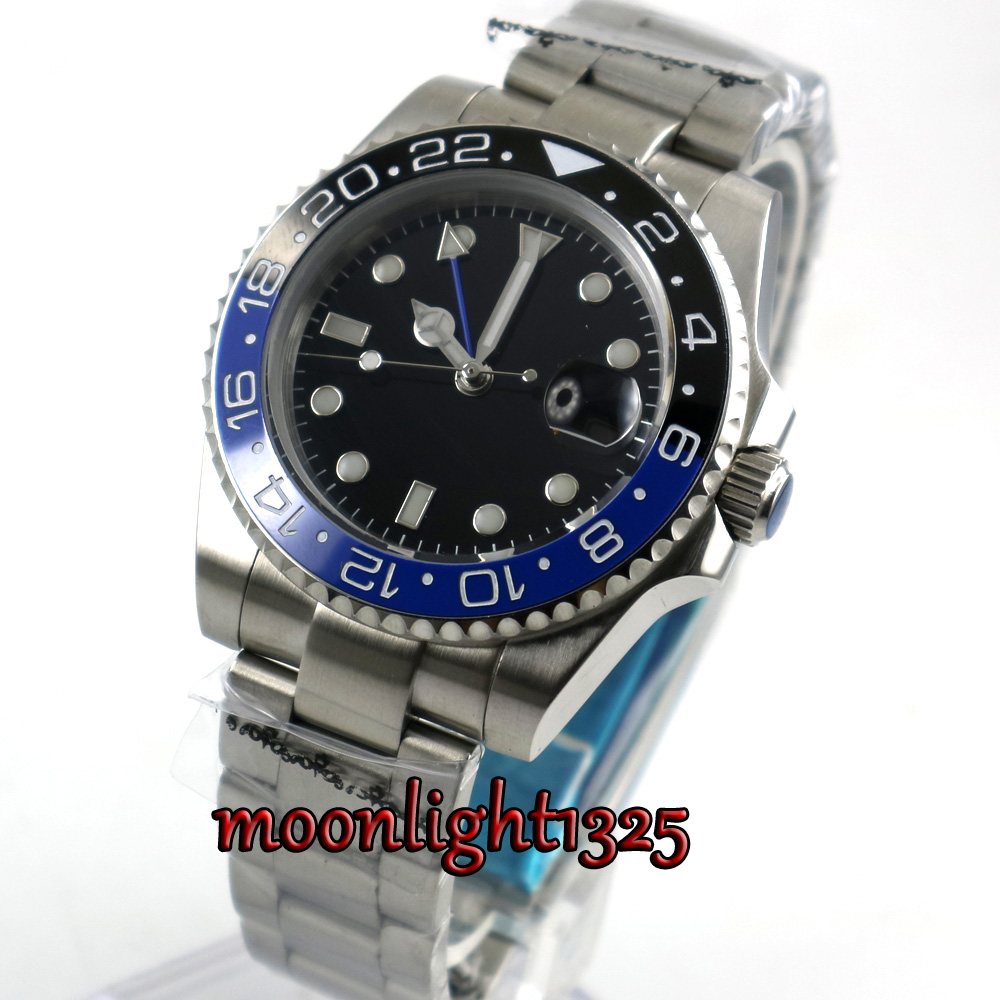 top 40mm parnis black sterile dial sapphire glass GMT Blue black ceramic Bezel date window automatic mens watch цена и фото