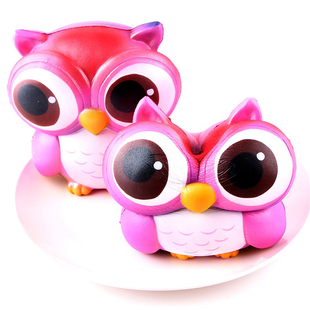 ISHOWTIENDA 15cm Lovely Pink Owl Cream Scented Squishy Slow Rising Squeeze Toys Collection Stretchy Squeeze Toy Cream#25