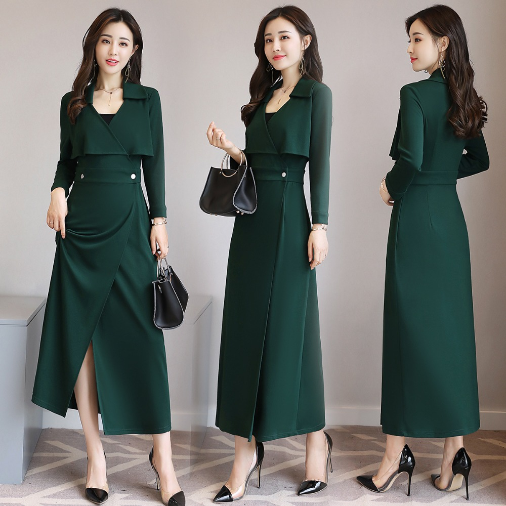 The new 2017 autumn ladies temperament Slim suit collar long sleeved dress long section Elegant fashion charm models dress AL