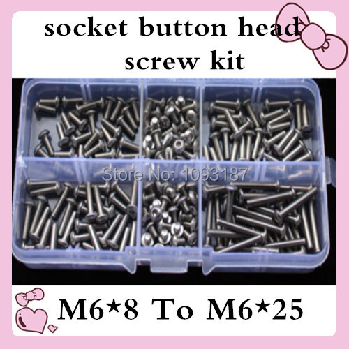60pcs M6*8 to M6*25 ISO7380  Stainless Steel  M6 Hex Socket Button Head Cap Screws Assort Kit 7380 fan7380 sop 8