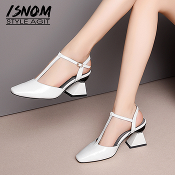 ISNOM Strange Style Sandals Women High Heels Summer Sandals Woman 2019 T Strap Shoes Female Wedding Patent Leather Shoes White