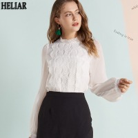 HELIAR Lace Elegant White Women Shirts Blouses Formal Chiffon Puff Sleeves Autumn Woman Office Lady Transparent Tops