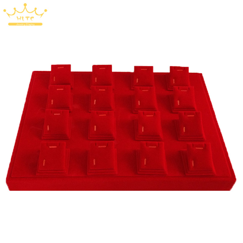 все цены на Pendant pallet red velvet 16 earrings pendant tray gold jewelry props jewelry display tray stand holder rack box
