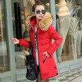 Mulheres Moda inverno Para Baixo jaqueta Com Zíper Gola Cabelo Boa Qualidade Parkas Quente Elegante Casual Parka Mulheres Plus Size 3XL