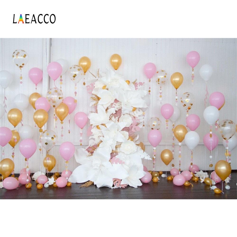 Globos de colores Laeacco Flores Fondo de fotografía de cumpleaños - Cámara y foto - foto 1