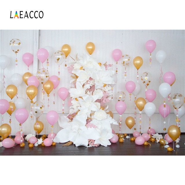 Laeacco Colorful Balloons Flowers Baby Birthday Ceremony Scene Photography Backgrounds Photographic Backdrops For Photo Studio