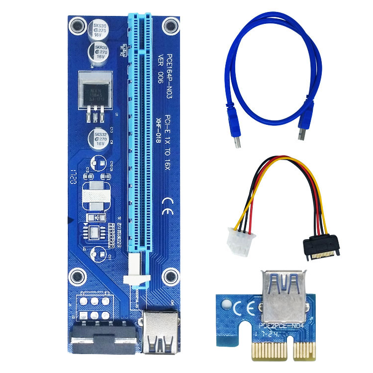 все цены на  2pcs/lotFree shipping PCI-E extender PCI Express Riser Card 1x to 16x USB3.0 SATA to 4Pin IDE Molex Power for BTC Miner Machine  онлайн