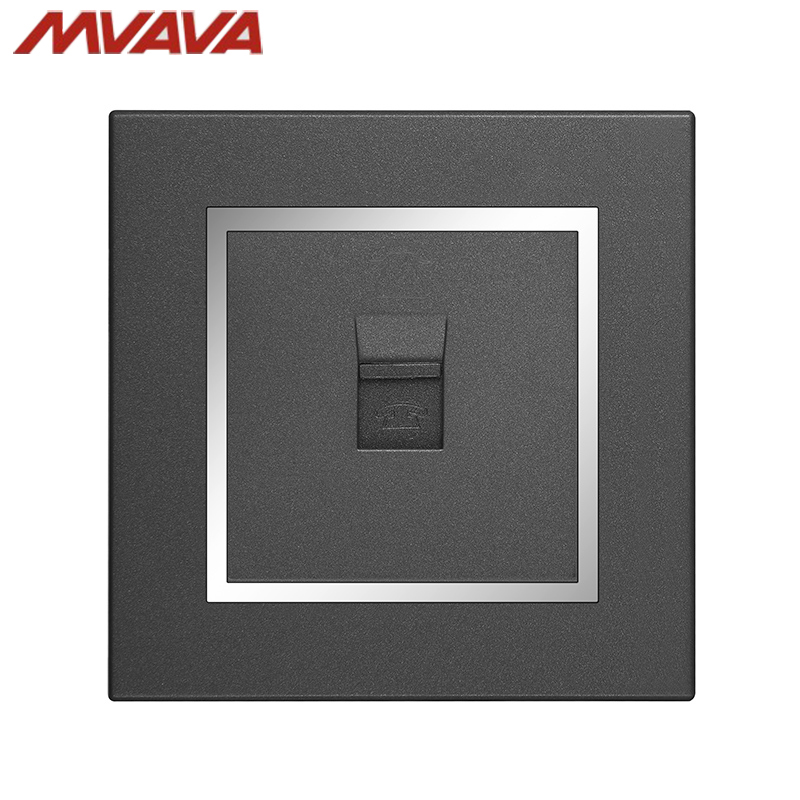 MVAVA RJ11 TEL Outlet Telephone Jack Plug Port Wall Socket Wall Decorative Receptale Luxury Chromed Black PC Panel Free Shipping in Electrical Sockets from Home Improvement