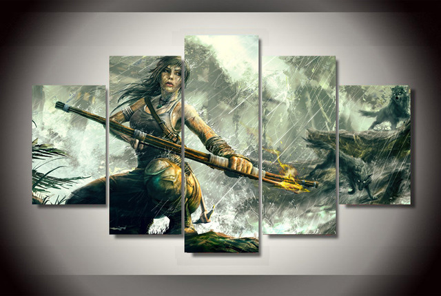 US $6 89 49% OFF|5 Panel Tomb Raider Canvas Painting Wall Art Pictures  Canvas Printed Game Poster Home Decor For Living Room Cuadros Artwork-in