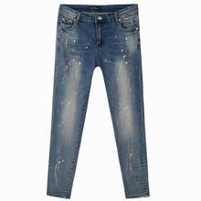 2017 осенью Новый хлопок стрейч брюки ноги плюс 6XL большой размер европейская часть женщин осень тонкий срез был тонкий джинсы w1381