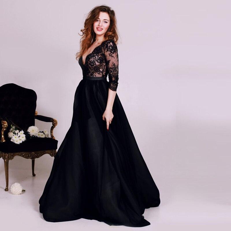2016 Black Deep V Neck long Evening Dresses Corset Lace with half ...